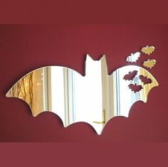 Bats out of Bat Mirror - available in 4 sizes. The set comprises 1 big Bat and 3 small Bats that are cut from the wing of the big Bat. My New Room, My Room, Batman Bathroom, Batman Room, Acrylic Mirror, Mirror Mirror, Decoration Inspiration, Design Inspiration, Gothic Home Decor