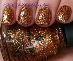 Red & gold glitter #nails using China Glaze - Electricty