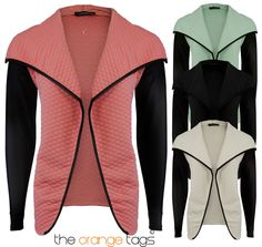 NEW #LADIES #QUILTED #JACKET #WOMENS #PU LONG SLEEVE #WATERFALL #BLAZER #TOP