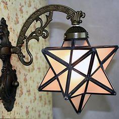 De estilo mediterráneo 40W Tiffany cinco puntas forma de estrella Heladas Lámparas de pared - 1 Luces - EUR € 98.99