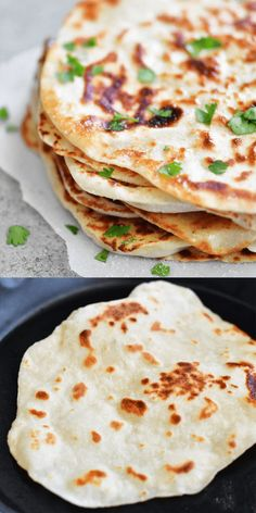 Two Ingredient Dough Naan Flatbread – The Gunny Sack Serve Two Ingredient Dough Naan Flatbread as a side or turn it into mini pizzas or sandwich wraps! It's EASY to make with no yeast and no waiting for dough to rise! Easy Flatbread Recipes, Recipes With Naan Bread, Nann Bread Recipe, Roti Recipe, Easy Naan Bread Recipe No Yeast No Yogurt, Naan Recipe Without Yogurt, Naan Flatbread, Naan Pizza, Oat Flour Flatbread Recipe
