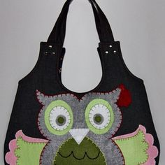 felt owl on purse, applique