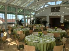 Palm Court- one of the newest and most sought after venues at Loyola's Lake Shore Campus; the venue boasts an abundance of natural light and a wrap around outdoor terrace with lake views.