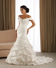 Cheap Bridal Shop 2013 New Style Mermaid Off the Shoulder Beading Tiered Satin Sweep Train Wedding Dress