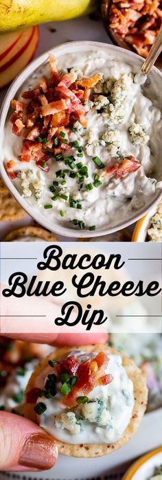 This creamy blue cheese dip does not disappoint! Bacon and blue cheese is one of the best combos out there. It's easy and comes together so quickly! Mini Appetizers, Appetizer Recipes, Camping Appetizers, Appetizer Dips, Healthy Appetizers, Healthy Food, Dinner Recipes, Blue Cheese Recipes, Blue Cheese Dips