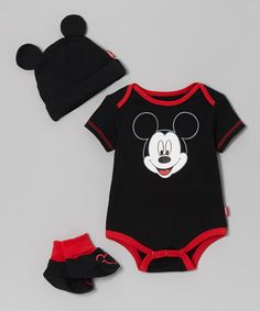 Take a look at this Black & Red Mickey Booties Set - Infant by Disney on #zulily today!
