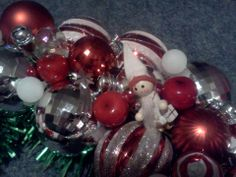 close up of the Red, White and SIlver wreath