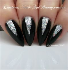 Luminous+Nails:+Black+&+Silver+Nails+...+Inspired+by+Rihanna+-+You...