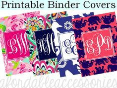 Personalized Lilly Pulitzer Binder Cover by ChicInkBoutique, $3.50