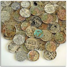 vintage paper and clear buttons. If you like unique handmade button jewelry, visit the online Etsy store of A Pinch of Panache.  New jewelry is made weekly! https://www.etsy.com/shop/APinchofPanache
