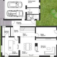 Hauspläne mit garage  coller Grundriss für ein Doppelhaus mit Garage dazwischen | Plans ...