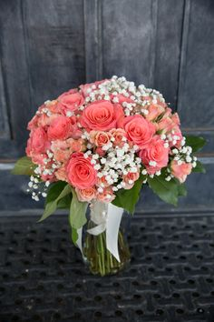 Kroger custom coral wedding bridal bouquet, babys breath and roses  http://www.ftdfloristsonline.com/kroger/