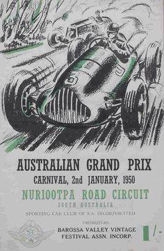 1950 Australian Grand Prix, Nuriootpa program cover (Stephen Dalton Collection)...
