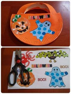 Panier à bonbons Panier à bonbons Panier à bonbons Panier à bonbons Sac Halloween, Bonbon Halloween, Theme Halloween, Halloween Crafts For Toddlers, Halloween 2015, Halloween Games, Halloween Ghosts, Toddler Crafts, Happy Halloween