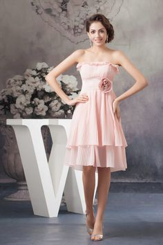 A Line Strapless Chiffon Knee Length Vintage Cocktail Dresses £77.29