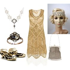 In love in flapper headband headpiece from BlueSkyHorizons Roaring 20s by popey3 on Polyvore featuring moda, Miss L Fire and Whiting & Davis