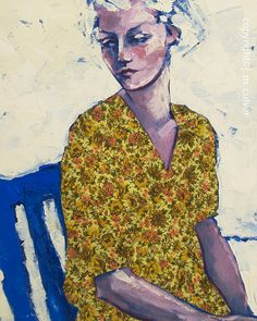 Modern Portrait of a Woman with a Vintage Flower by SweetMurmur, $25.00