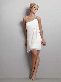Simple beaded chiffon mini shirt casual wedding dress with asymmetrical neckline