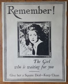 World War I poster anti-VD Come Home Clean Benda illustrated black white16X20