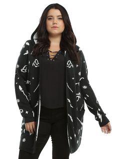Harry Potter Symbols Girls Hooded Flyaway Cardigan Plus Size, BLACK Size 3 or 2