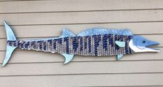 This Bottle Cap Art Wahoo Fish is just one of the custom, handmade pieces you'll find in our other assemblage shops. Beer Cap Art, Beer Bottle Caps, Bottle Cap Art, Beer Caps, Assemblage Kunst, Fisher, Wooden Bird, Kitchen Art, Cool Items