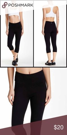 """Bally Total Fitness Capri Leggings Wide Waistband Solid black with thick fabric. Comfy wide waistband. Fits 14-16. 19"""" inseam. Bally Pants Capris"""