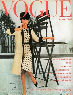 Simone D'Aillencourt, French Vogue cover by William Klein, April 1961