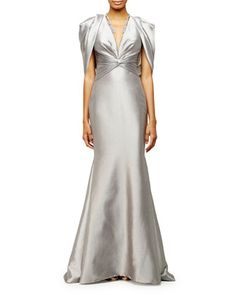 Draped-Shoulder V-Neck Mermaid Gown, Silver by Pamella Roland at Neiman Marcus.