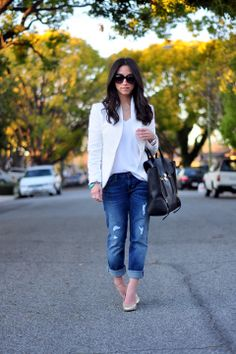 One of 10 ways to wear a white t-shirt from tiaandtamaraofficial.com....Pair with boyfriend jeans