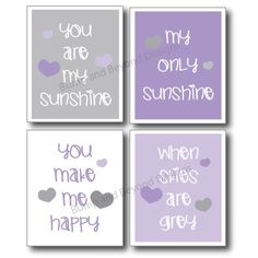 NURSERY WALL ART Purple and Grey Girl by BumpAndBeyondDesigns