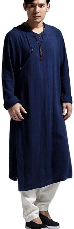 Amazon.com: LZJN Men's Monk Kung Fu Robe Costume Long Gown Meditation Suit Cotton Linen Overcoat Casual Kaftan: Clothing Monk Costume, Tai Chi Clothing, Kung Fu, Kaftan, Cotton Linen, Fashion Brands, Meditation, Topshop, Gowns