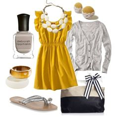 Cute outfit ideas of the week - pops of color - a yellow dress!