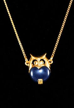 Vintage Small Blue Owl Pendant 1960s by ErikasCollectibles on Etsy