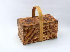 Vintage wooden sewing storage box - folk style. $47.99, via Etsy.