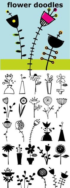 awesome Flower Doodles... 15 line drawings, 15 reverse drawings... Lots of looks with these 30 flowers.
