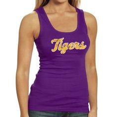 17699edf577d23 LSU Tigers Women s Script Boy Beater Tank - Purple