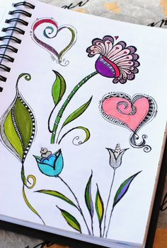 "https://flic.kr/p/cY3dFJ | Art Journal - Zenspirations Florals | Practicing various flower, leaf, and heart designs from ""Zenspirations, Letters & Patterning"" by Joanne Fink."