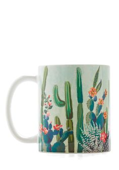 Cactus What You Preach Mug. Sip the same herbal remedies you offer your friends and clients in this cactus-printed mug! #multi #modcloth