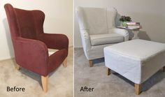 A summer slipcover for Jane's wingback chair and ottoman.