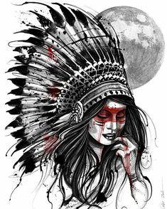 Lua Cheia 🌕 Rites Of Passage 🕸 Ipadpro e Apple Pencil App profissional Procreate Studio New Look Tattoo Patrocínio electricink ⚡️ Indian Girl Tattoos, Indian Skull Tattoos, Tattoo Sketches, Tattoo Drawings, Body Art Tattoos, Tattoo Art, Native American Tattoos, Native Tattoos, American Indian Art
