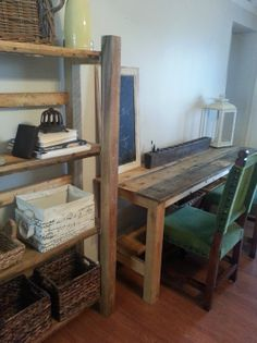 desk and bookcase office set by whitepinecrafters on Etsy, $900.00