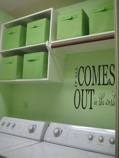 i like the storage and idea of color in the laundry room but this green is too bright for me