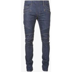 Balmain Slim-fit raw denim biker jeans (2.547.470 COP) ❤ liked on Polyvore featuring men's fashion, men's clothing and men's jeans