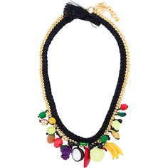 Venessa Arizaga fruit rope necklace ($312) ❤ liked on Polyvore featuring jewelry, necklaces, black, multi colored necklace, rope necklaces, multicolor jewelry, tri color jewelry and venessa arizaga jewelry