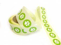 Geschenk-VerpackungenGeschenk Aufkleber - Etikett: Pfote Grün -rund- 3cm…