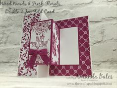 Wood Words & Fresh Florals Double Z Joy Fold card with Tutorial by Amanda Bates at The Craft Spa. Independent Stampin' Up! UK Demonstrator, Blogger & Online Shop