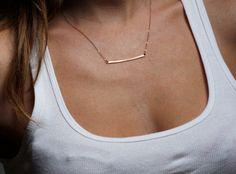 Rose+Gold+Bar+Necklace+Handmade+Horizontal+Bar+by+MinimalVS,+$56.00