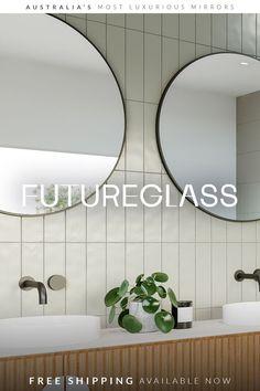 Corner Mirror, Mirror With Shelf, Modern Bathroom Design, Bathroom Interior Design, Bathroom Inspiration, Bathroom Ideas, Luxury Mirror, Glass Sink, Shower Screen