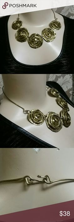 """Hammered Brass Necklace Simplistic hammered yellow brass with a modern look & design. All linked together and finished off with a simple Hook closure. Very pretty, will draw attention simply for its artistic look.  17"""" long. Previously loved. Jewelry Necklaces"""
