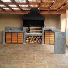 Parrilla de obra Outdoor Barbeque, Outdoor Kitchen Patio, Outdoor Oven, Outdoor Kitchen Design, Outdoor Cooking, Outdoor Living, Parrilla Exterior, Built In Braai, Bbq Area